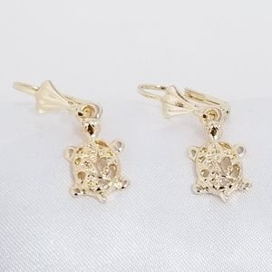 14K Gold Plated Turtle earrings. New